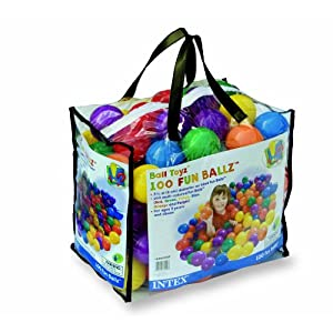 Intex 100 pcs Fun Ballz - 6 assorted colors (red, green, blue, yellow, orange, and purple)