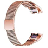 ECSEM Replacement Bands and Straps for Fitbit Charge 2 Heart Rate Fitness Tracker (Milanese Loop, Rose Golden)