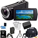 Sony HDR-CX380/B HDRCX380 HDR-CX380 CX380 B High Definition Handycam Camcorder with 3.0-Inch LCD (Black) Ultimate Bundle with 32GB SD Card, High Capacity Spare Battery, Rapid AC/DC Charger, Deluxe Carrying Case, Table Tripod, LCD Screen Protectors + More