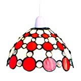 Lighting Web Co Glass Easy Fit Bistro Dome with Large Circles Pendant, Red