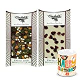 Chocholik Luxury Chocolates - Intense Snowy White & Dark Chocolate Bars With Birthday Mug