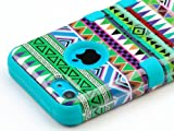 Pandamimi ULAK(TM) Hybrid High Impact Tribal Soft TPU + Hard PC Case Cover for Apple iPhone 5C with Screen Protector and Stylus (Green + Blue)