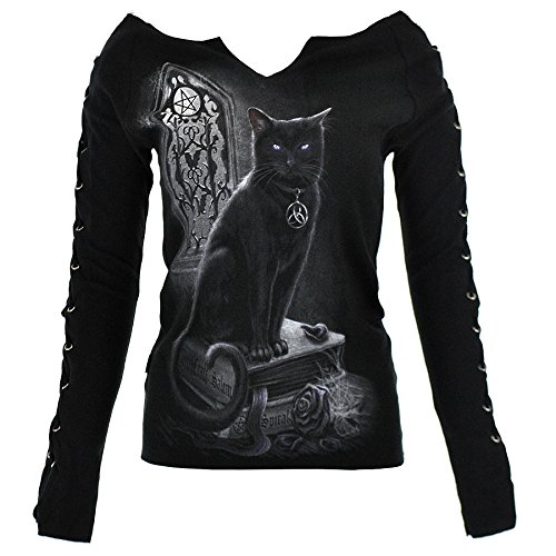 Top Pizzo Up Spiral Direct Witch Cat (Nero) - Medium