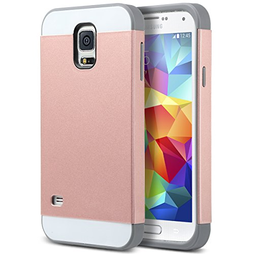 Galaxy S5 Case, S5 Case, ULAK 2in1 Hybrid Dual Layer Slim Protective Case Cover for Samsung Galaxy S5 / Galaxy S V / i9600 (Plastic Hard Shell and Flexible TPU) Rose Gold /Gray (Galaxy S5 Protective Case Gold compare prices)