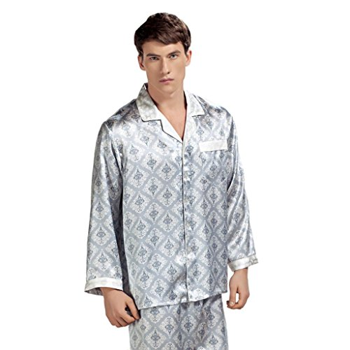 b7bf7ef0e0 Forever Angel Men s 100% Silk Pajamas Luxury Sleepwear Gift Grey Size XL