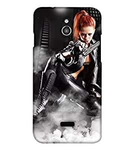 PrintHaat 3D Hard Polycarbonate Designer Back Case Cover for InFocus M2 (beautiful girl holding a gun in boots :: golden hair girl posing with a gun :: in golden, black and white)