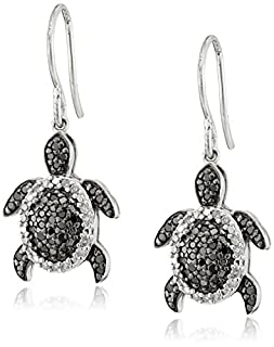 Sterling Silver Black and White Diamond Turtle Earrings (1/2 cttw, I-J Color, I2-I3 Clarity)