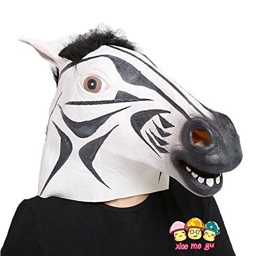 [XIAO MO GU Latex Halloween Costume Party Mask Animal Head Mask Zebra Horse] (Zebra Head Costumes)
