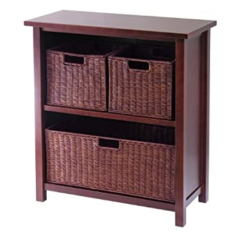 Winsome Wood Milan Wood 3 Tier Open Cabinet in Antique Walnut Finish and 3 Rattan Baskets in Espresso Finish