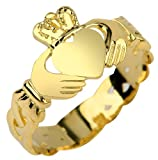 Ladies 10k Yellow Gold Claddagh Ring with Trinity Band (7)
