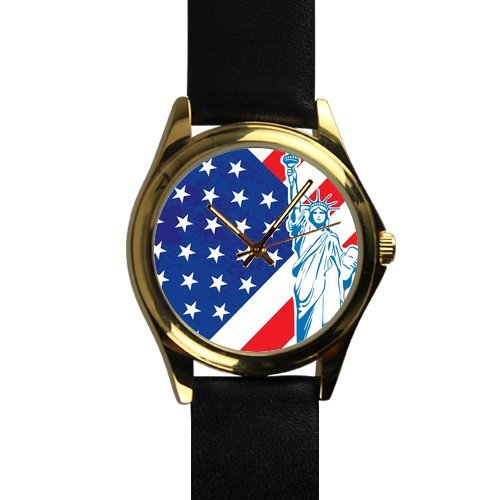 Statue Of Liberty With American Flag Unisex Silver-Tone Round Metal Watch