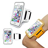 iPhone6 Sports Armband, Nancy's shop Easy Fitting Sports Universal Armband With Build In Screen Protect Case Cover Running band Stylish Reflective Walking Exercise Mount Sports Sports Rain-proof Universal Armband Case+ Key Holder Slot for Iphone 6 (4.7 Inch) (White)