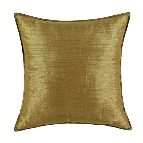 "Euphoria CaliTime Cushion Covers Pillows Shell Light Weight Dyed Stripes Gold Color 18"" X 18"""