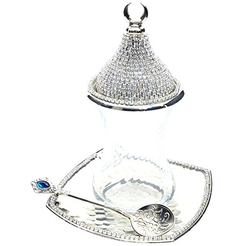 Best Price! (SET of 6) Turkish Tea Glasses Set with Saucers Lids Spoons, Decorated with Swarovski Type Crystals,24 Pcs (Plain Glasses – Silver)