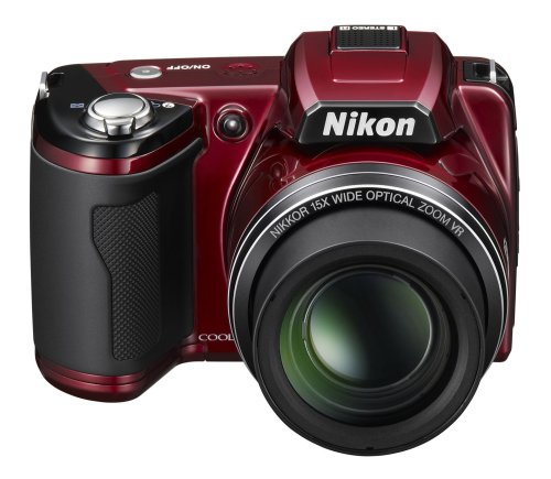 Nikon Coolpix L110 Digitalkamera (12,1 Megapixel, 15-fach Weitwinkelzoom, 7,5cm (3,0-Zoll) Display) rot