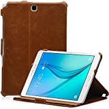 Leicke MANNA Samsung Galaxy Tab A 9.7 SM-T555 - Schutzgaine Hochwertige Housse aus Kunstleder, brun, avec farblich abgesetzter Naht Aufstellbar avec CleverStrap