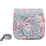 ElvamBasic Vintage Flower Floral PU Leather Fujifilm Instax Mini 8 / Mini 8+ Instant Film Camera Case Bag w/ a Removable Bag Strap