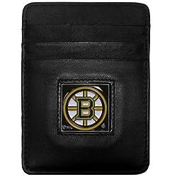 NHL Boston Bruins Genuine Leather Money Clip/Cardholder Wallet