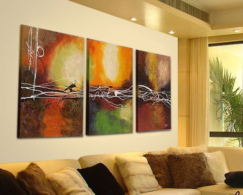 Sangu 100% Hand Painted Wood Framed 3-Piece Hot Sale Modern Colorful Lines For Abstract Oil Painting Gift Canvas Wall Art For Home Decoration