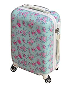 Vintage Rose Blue Hand Luggage Cabin 21 Inch Case Suitcase Floral 4 Wheeled Tote Trolley Bag Hard Shell