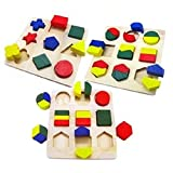 Dandyd Wooden Puzzles Geometric Puzzles For Kids, Learn Math & Shapes ( Set Of 3 )