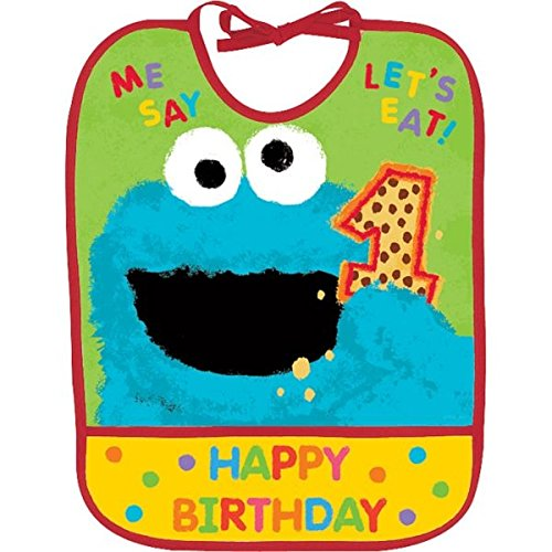 "Amscan Sesame Street 1st Birthday Vinyl Baby Bib Party Supplies, 13"" x 10.5"", Yellow/Green/Red"