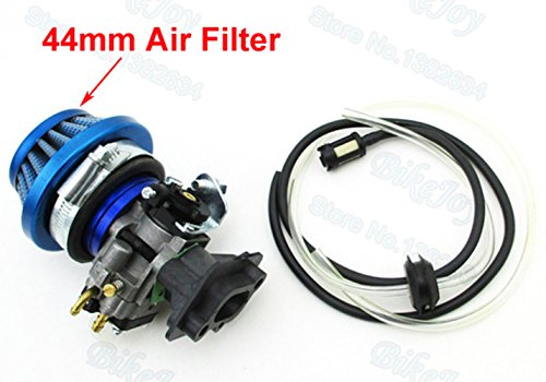15mm Carb + 44mm Air Filter + Stack + Fuel Hose + Intake Gasket For 33 43 49 50 52cc Goped Scooter Cat Eye Pocket Bike