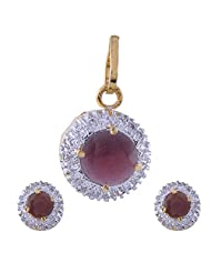 Nimbark Traders Brass And Metal White & Red Color Designer Pendent Set With Earrings For Women - B00RFRH2TI