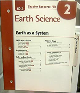 holt earth science chapter resource file 2 earth as a system 9780030368929 books. Black Bedroom Furniture Sets. Home Design Ideas