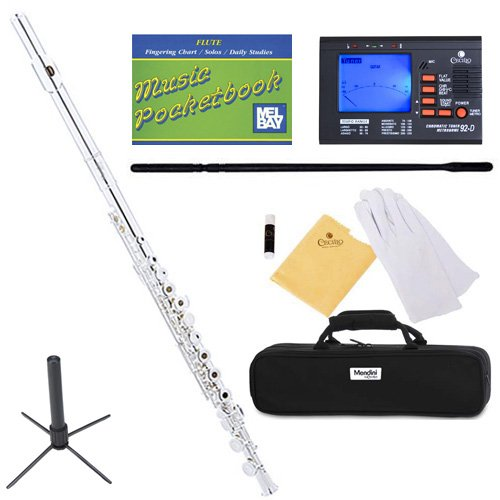 mendini-mfe-30s-intermediate-open-closed-hole-silver-plated-c-flute-w-b-foot-joint-case-chromatic-tu
