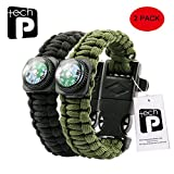 Tech-P Survival Gear Paracord Bracelet Compass Fire Starter Scraper Whistle Gear Kits- 2 Pack