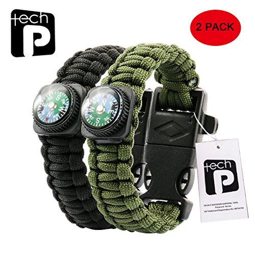Tech-P Survival Gear Paracord Bracelet Compass Fire Starter Scraper Whistle Gear Kits- 2 Pack