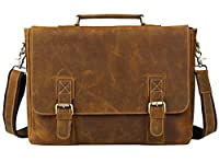 Texbo Genuine Men's Cowhide Leather Messenger Bag Briefcase Fit 15.6 Inch Laptop