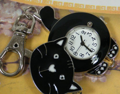 Cat Watch w / Keychain Clip Pocket Watch Black