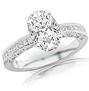 1.38 Carat Oval Cut / Shape 14K White Gold Vintage Channel Set Princess Diamond Engagement Ring ( J Color , SI2 Clarity )
