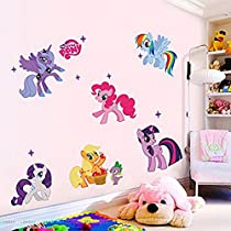 Sunnicy 3d Cartoon Wall Stickers for Kids Rooms Home Decoration Wall Decal Wall Sticker with a Pink Box