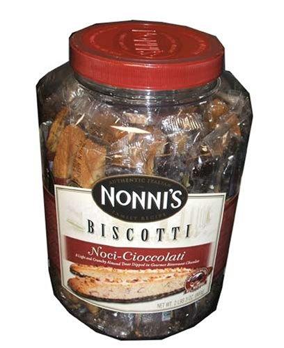 Nonni's Biscotti, Noci-cioccolati, a Light Nad Crunchy Almond Treat Dipped in Gourmet Chocolate-(2pound/3oz Tub) (Gourmet,Nonni's Food Company Inc.,Gourmet Food,Cookies,Chocolate Cookies)