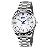 Men's Unique Roman Numeral Analog Quartz Waterproof Business Casual Stainless Steel Band Dress Wrist Fashion Calendar Watch with White Dial - Silver Blue