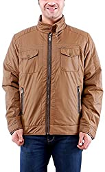 Time Option Men's Polyester Jacket (5039-Khakhi_38)