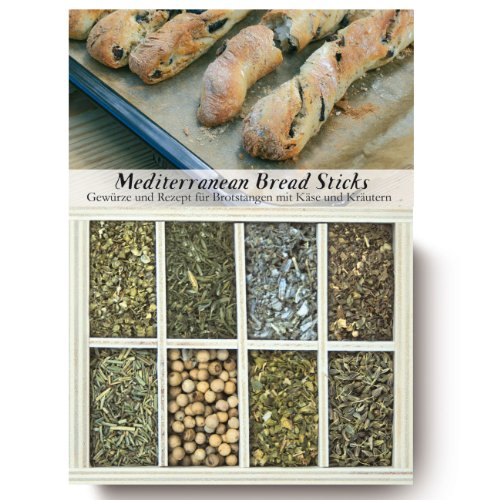Feuer & Glas Coffret Food Mediterranean Bread Sticks / Pain aux Saveurs Méditerranéennes Fromage et Herbes, Épices, Recette & Liste des Ingrédients, 30g