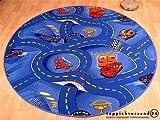 Kinder Spiel Teppich Walt Disney Cars Auto Blau Rund in 7 Größen, Größe:240 cm Rund