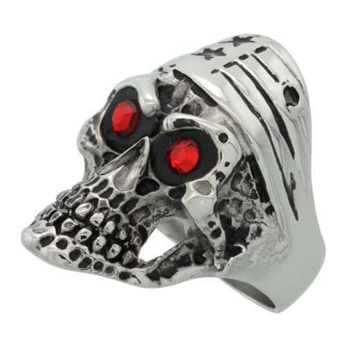 Surgical Steel Biker Ring Bike Skull American Flag Bandana Red CZ Eyes 1 5/16 inch long, size 9