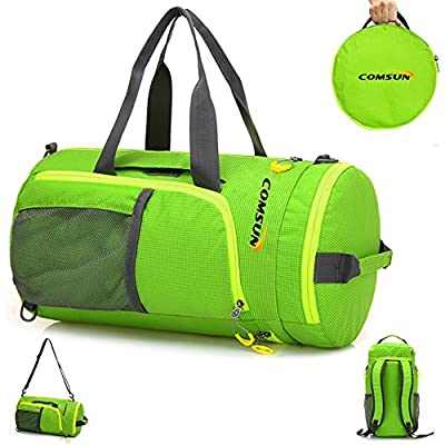 Comsun Foldable Duffle bag, 3 in 1 Function Portable Sport Gym Training Backpack Water Resistant for Outdoor Travel with shoulder Strap Oxford Fabric Green