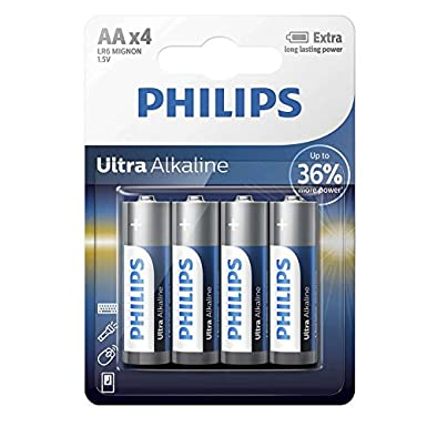 Philips LR6E4B/10 Ultra Alkaline LR6 AA Batteries (4 Pack)