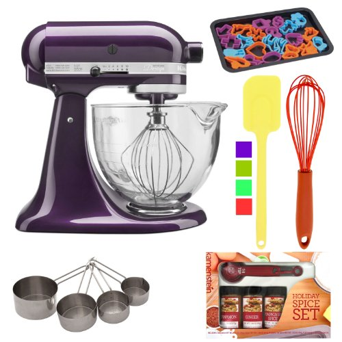 Kitchenaid Artisan 5-Quart Glass Bowl Tilt-Head Stand Mixer - Plumberry With Heavy-Duty Stainless Measuring Cup Set + Kamenstein Mini Measuring Spoons Spice Set + Silicone Spatula + Cookie Sheet With 22 Piece Cookie And Silicone Whisk