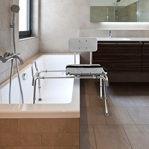 Duro-Med Heavy-Duty Sliding Transfer Bench Shower Chair with Cut ...