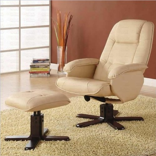 Cool Coaster Swivel Recliner Chair With Ottoman In Ivory Bonded Machost Co Dining Chair Design Ideas Machostcouk