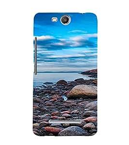 PrintVisa Pebble Beach Design 3D Hard Polycarbonate Designer Back Case Cover for Micromax Canvas Juice3 Q392