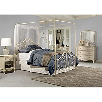 Hawthorne Collections Queen Metal Canopy Bed in Cream