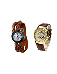 COSMIC COUPLE WATCH- BROWN ANALOG DESIGNER WATCH FOR WOMEN AND BROWN SKELETON WATCH FOR MEN